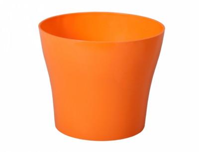 Obal na květník TULIPAN plast oranžový lesklý d17x15cm