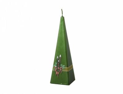 Svíčka SVÍCEN PYRAMIDA vánoční metalická 6x6x19cm