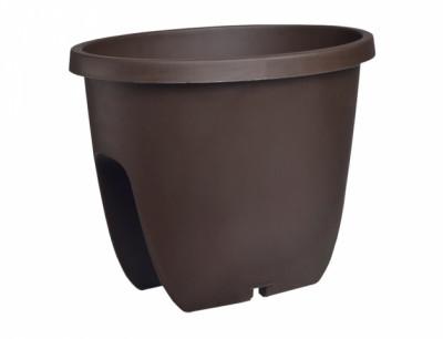 Truhlík BALCONIA na zábradlí plastový hnědý 30cm