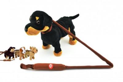 Pes na tyčce plyš 25cm chodící na baterie se zvukem - mix variant či barev