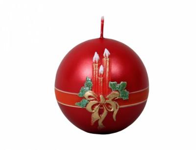 Svíčka SVÍCEN KOULE vánoční metalická d7cm