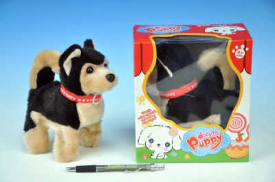 Pes chodící štěkající plyš 14cm na baterie