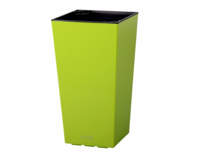 Obal na květník ELISE plast zelený lesklý 25x25x46cm