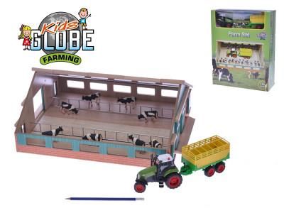 Sada malý farmář - farma dřevěná 1:50 a traktor na baterie se světlem a zvukem + doplňky