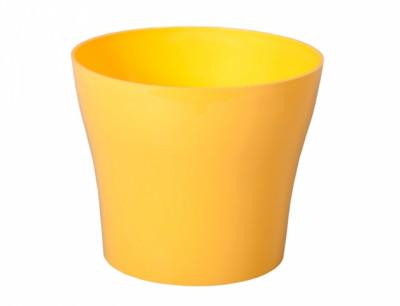 Obal na květník TULIPAN plast žlutý lesklý d15x13cm