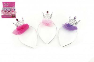 Korunka/čelenka pro princeznu plast karneval - mix barev