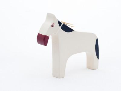 Dřevěný koník - bílý, chráněná dílna Rolnička