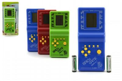Digitální hra Brick Game Tetris hlavolam plast 19cm na baterie - mix barev
