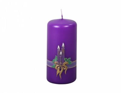Svíčka SVÍCEN VÁLEC vánoční metalická d5,5x10cm