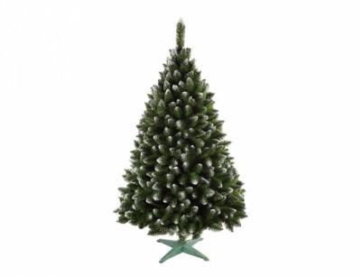 Stromek JEDLE umělý vánoční s bílými konci + stojan 220cm