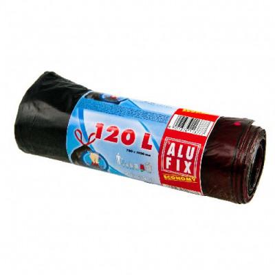 pytle na odpadky zatahovací 120l (7ks) 70x100cm ČER 21µ ECONOMY
