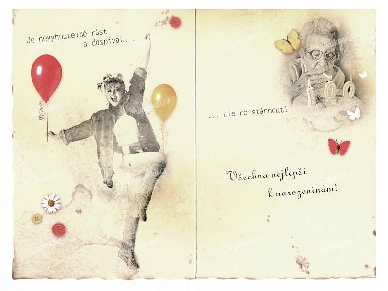 papírová přání k narozeninám Blahopřání k narozeninám, RETRO   kočárek, DITIPO   VÝPRODEJ papírová přání k narozeninám