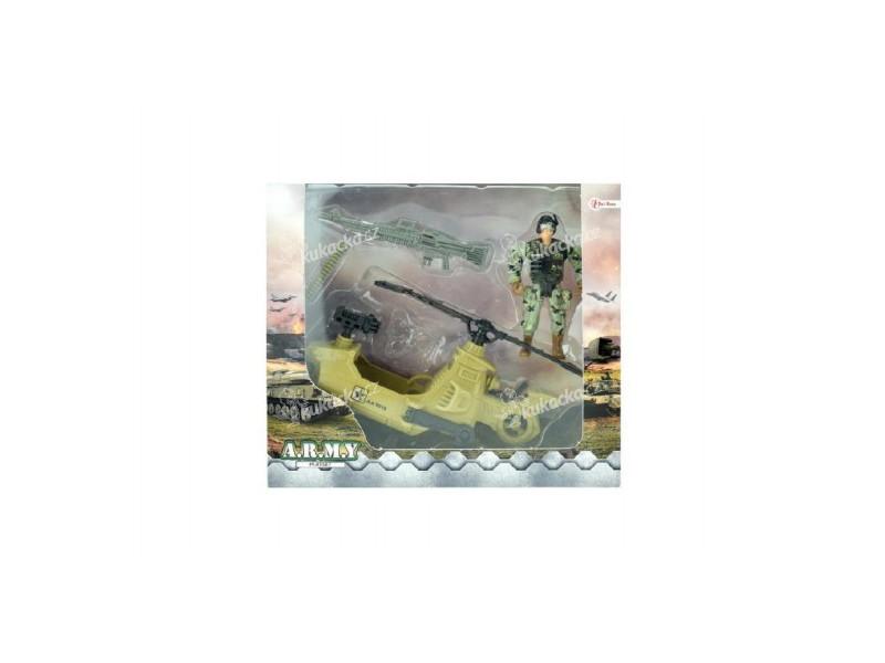 ca8adc3d452b Vojenská sada helikoptéra vrtulník+voják s doplňky plast