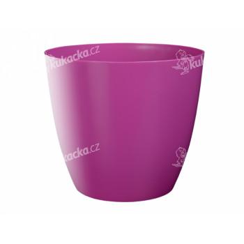 Obal na květník ELLA plastový fialovo růžový lesklý d15x14cm - VÝPRODEJ