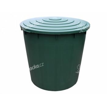 Barel s ventilem a víkem plastový zelený 300l