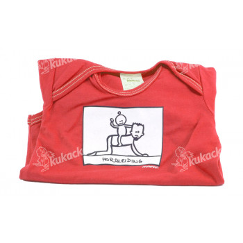 Dětské body Mayaka s krátkým rukávem Horseriding - červené Vhodné pro věk 6-12 měsíců - VÝPRODEJ