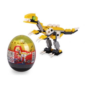 Stavebnice Wange – Dinosaur ve vejci (Velociraptor - žlutý)