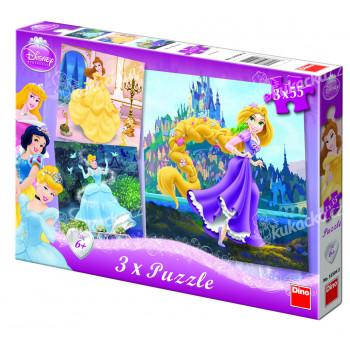 Puzzle Princezny 18x18cm 3x55 dílků