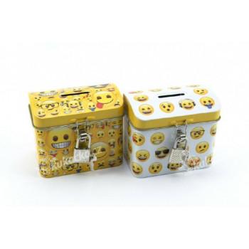 Pokladnička smajlík truhla se zámkem plech 9x8cm - mix variant či barev