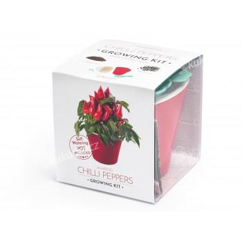 Vypěstuj si jalapeňo, samozavlažovací květináč červený 10x10 cm, Domestico