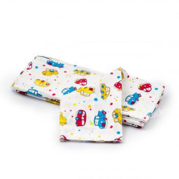 Dětská plena 70x80 cm, bavlněná flanelová, bílá s autíčky, 5 ks, Cuculo - VÝPRODEJ