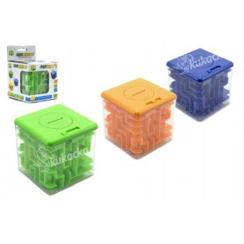 Pokladnička s hlavolamem pro otevření mince do 5Kč plast 8x8cm - mix barev