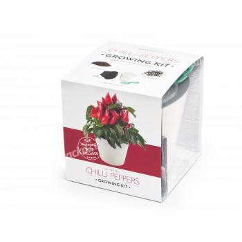 Vypěstuj si jalapeňo, samozavlažovací květináč bílý 10x10 cm, Domestico