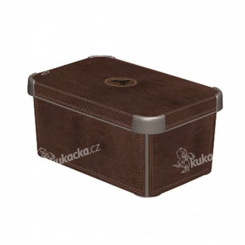 box úložný LEATHER 29,5x19,5x13,5cm (S) s víkem, plastový - VÝPRODEJ