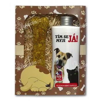 Dárkové balení pro kočky a psy - šampon + pamlsek s obrázkem psa a kočky - VÝPRODEJ