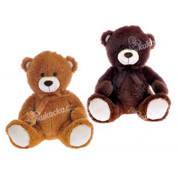 Medvěd plyšový 40 cm sedící s mašlí - mix barev - VÝPRODEJ