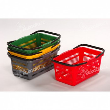 košík nákupní, 2 držadla 44x28x20cm plastový, ZE, nosnost 10kg