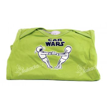 Dětské body Mayaka s krátkým rukávem Car Wars - zelené Vhodné pro věk 12-18 měsíců - VÝPRODEJ