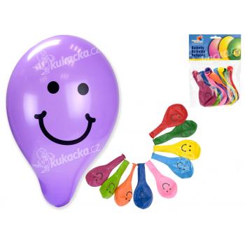 """Balonek/Balonky nafukovací 9"""" potisk Smile 10cm karneval"""