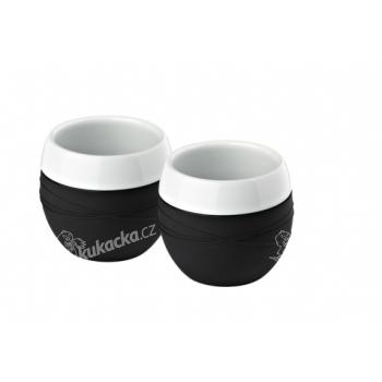 Hrnek porcelánový 200 ml 2ks - černý, Bakly - VÝPRODEJ
