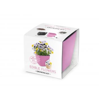 VYPĚSTUJ SI JEDLÉ KVĚTY, dárková sada se samozavlažovacím květináčem, RŮŽOVÝ 13X13 CM, DOMESTICO