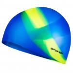 Spokey Abstract plavecká čepice silikonová modrá se žlutým pruhem - VÝPRODEJ