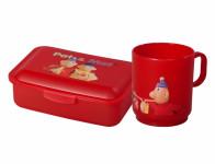 Set PAM box na svačinu střední+hrnek plastový 2,5dl, červený