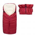 Set - nepromokavý fusak Iceland wool a rukávník, ovčí vlna, tmavě červený, Cuculo