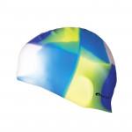 Spokey Abstract plavecká čepice silikonová bílo-modro-žluto-fialová