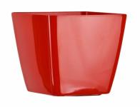 Obal na květník KWADRAT plastový červený 8x8x7cm