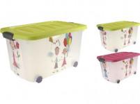 box úložný 60x40x30cm na kolečkách s víkem plastový, dětský
