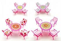 Nábytek pro panenky stůl + 4 židle plast 17cm