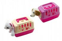 Zvířátko pejsek plyš v přenosném boxu plast 15cm - mix variant či barev