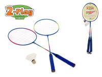 Badmintonové rakety 2ks kov s košíčkem 63cm