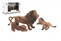 Zvířátka safari ZOO 13cm sada plast 3ks lev 2 druhy