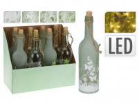 láhev dekorativní 10LED pr.7,3x29cm s dekorem - mix variant či barev
