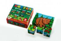 Kostky kubus dřevěné Moje první zvířátka lesní dřevo 9ks v krab.11x11x6cm MPZ