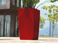 Samozavlažovací květináč GreenSun ICES 12x12 cm, výška 23 cm, červený