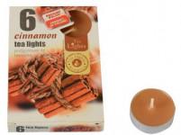 svíčka čajová vonná SKOŘICE (6ks) (hoří 6x3-4hod) - VÝPRODEJ