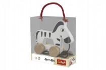 Zebra na kolečkách a s provázkem dřevěná Wooden Toys 12m+